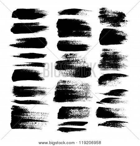 Black textured strokes big set isolated on a white background