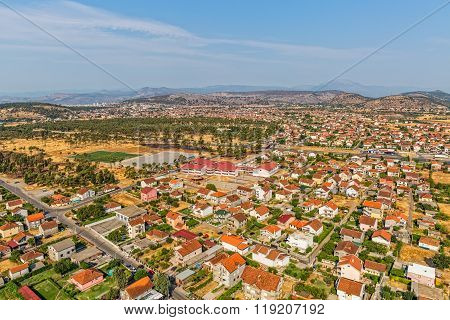 Residential houses aerial view