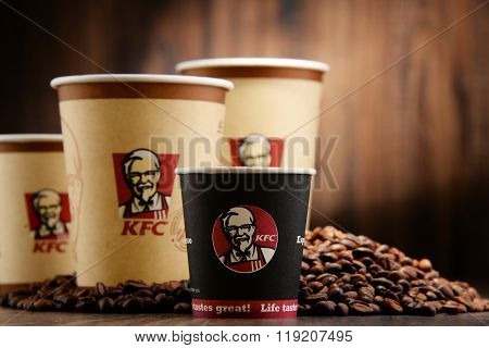 Composition With Kfc Coffee Cup And Beans