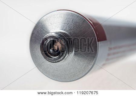 Close up of aluminum tube