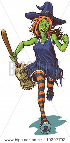 Scary Witch Running With Broom Cartoon Illustration