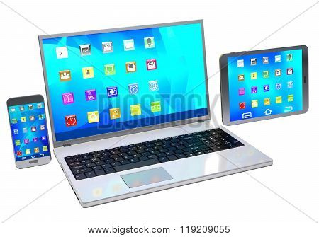 Laptop, Mobile Phone And Tablet Pc  On White Background.