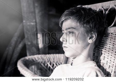Bw Portrait Of A Beautiful Teenage Boy