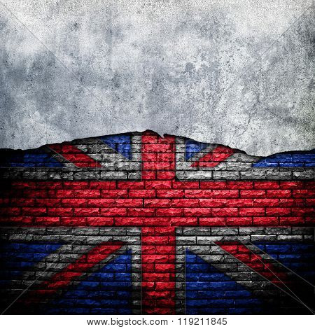 cracked wall with england flag