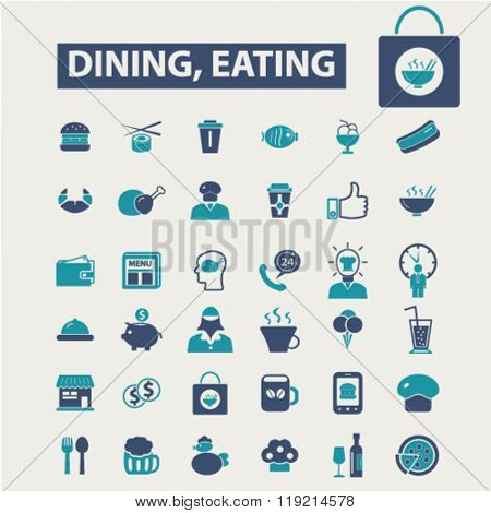 dining, eating, fast food, restaurant icons