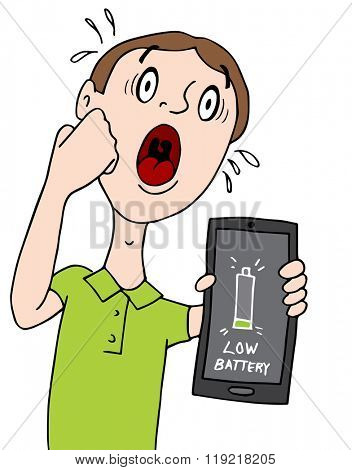 An image of a man with a low battery alert on his smart phone.