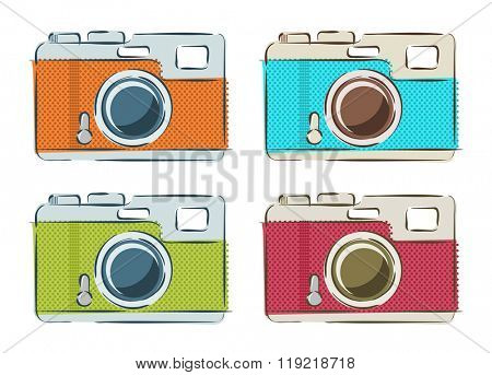 Vector set of retro cameras in linear style in bright colors