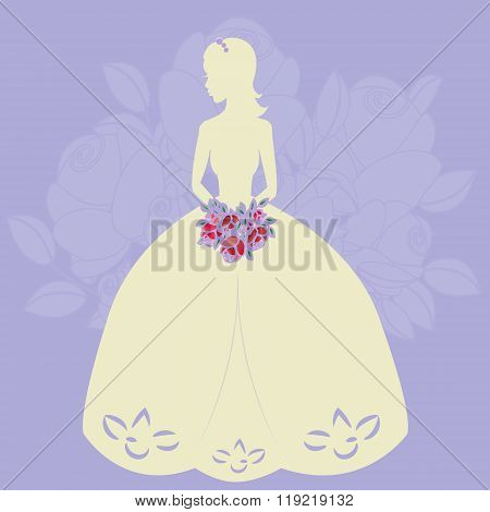 Illustration of a beautiful bride holding a bouquet.