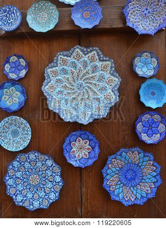 Beautiful handicraft displayed outside souvenir shop.