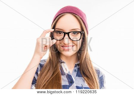 Close Up Photo Of Pretty Girl In Hat Touching Her Glasses