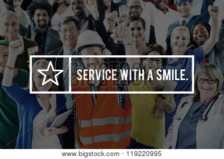 Service with Smile Customer Care Friendly Business Concept