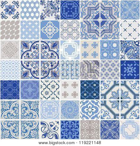 Indigo Seamless Patchwork Pattern - Monochrome Tiles Set - for wallpaper, design, background, texture, interiors - in vector