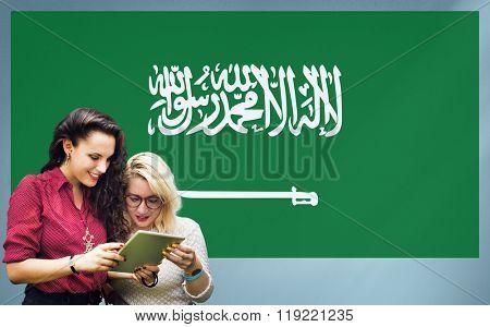Saudi Arabia National Flag Studying Women Students Concept