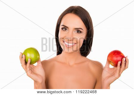 Healthy Cheerful Young Girl Chosing Between Green And Red Apples