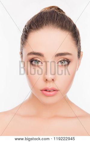 Close Up Portrait Of Attrective Beautiful Model With Discerning Look
