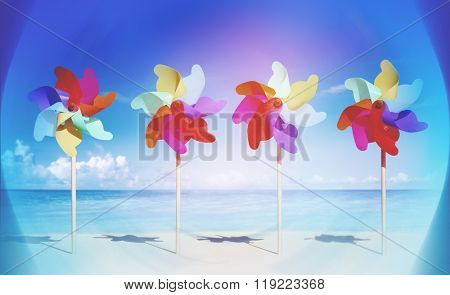Pinwheels On The Beach Blowing Sunshine Concept