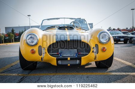 Nice gorgeous front view of old vintage classic racing car