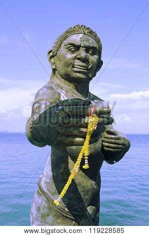 Welcoming Statue Of The Phra Aphai Mani Ogress At The Main Port
