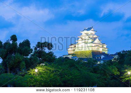 Himeji Jo Castle Trees Blue Hour Dusk Sky H
