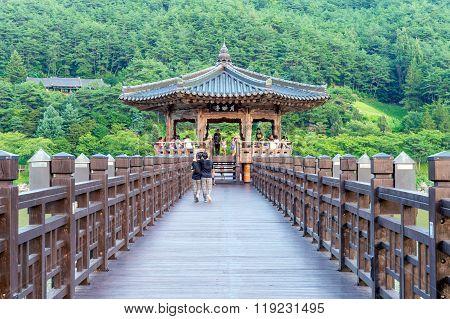 Wolyeonggyo Bridge and Tourists. Wolyeonggyo Bridge Located on Andong in Korea.