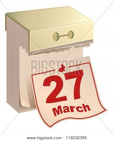 March 27, 2016 Catholic Easter. Tear-off calendar red date