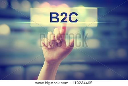 B2C Concept With Hand Pressing A Button