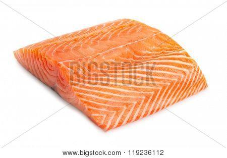 salmon steak on white background