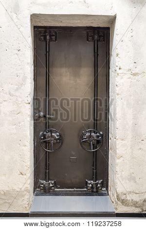 Old door with valves