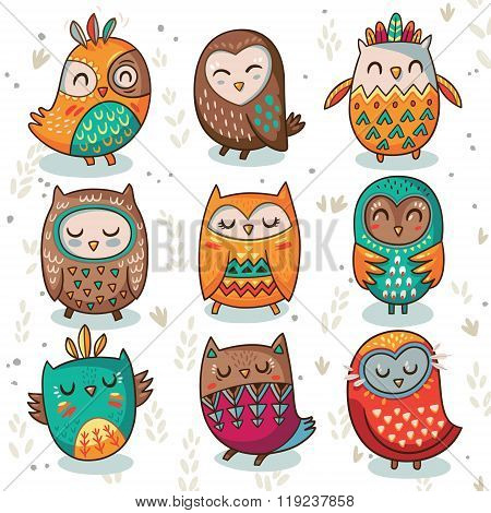Tribal owl vector set
