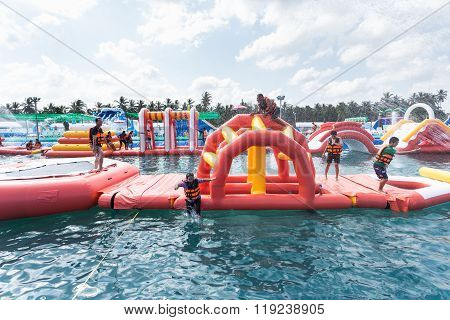 Surat Thani, Thailand - January 2 : The Unidentified People In The Pirate Water Park On January , 20