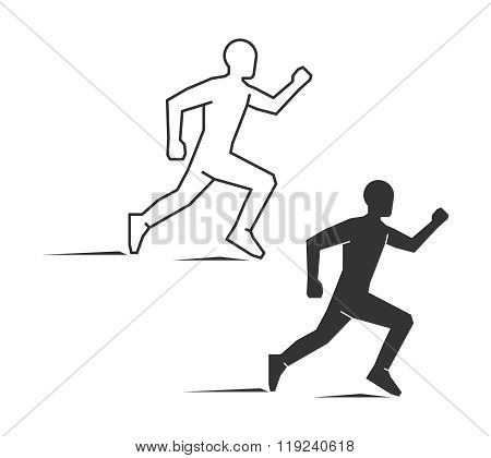 Black line and flat running logo on a white background. Flat runner figure. Linear runner figure. Running symbol label and icon.