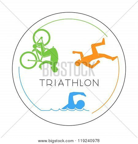 Vector Line Logo Triathlon And Figures Triathletes.