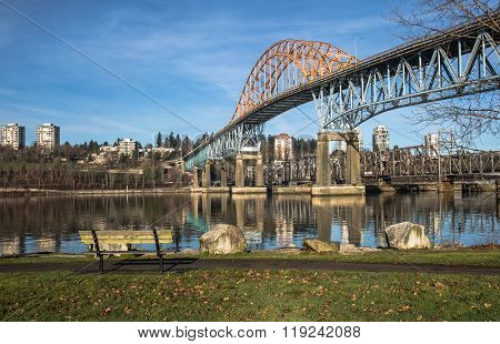 Pattullo Bridge and Railroad Track, New Westminster