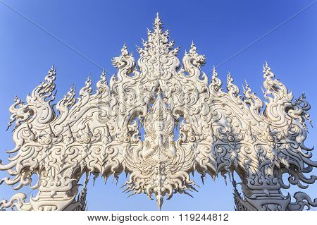 Chiang Rai, Thailand - January 21 :wat Rong Khun The Art In The Style Of A Buddhist Temple At Chiang