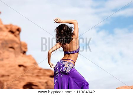 Beautiful sexy bellydancer in the desert