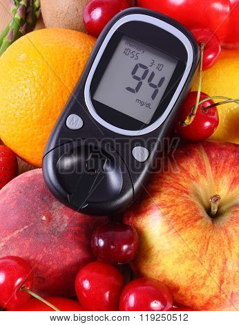 Glucometer With Fruits And Vegetables, Healthy Nutrition, Diabetes