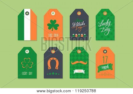 Collection of St. Patrick's Day gift tags. Set of St. Patrick's Day holiday labels.