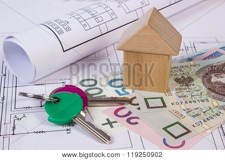 House Of Wooden Blocks, Keys And Polish Money On Construction Drawing, Building House Concept