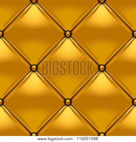 Gold button-tufted leather background. Gold upholstery seamless pattern. Vector illustration