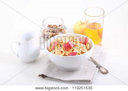 Corn And Rice Flakes With A Fresh Apple, Muesli With Apple Slices