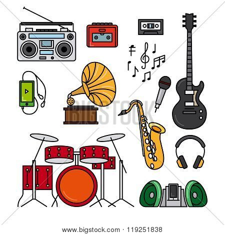 Music and musical instruments line icons