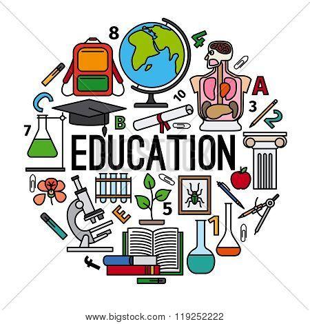 Education concept round label