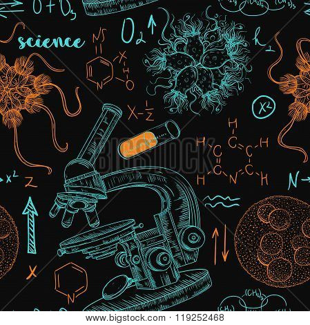 Vintage seamless pattern old chemistry laboratory with microscope, tubes, formulas, microbes and vir