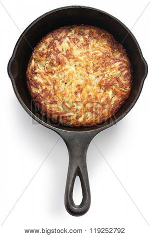 Rosti, Swiss potato pancake in frying pan