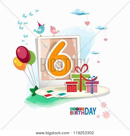 Sixth Birthday Card. Celebration Background, Balloon, Gift Boxes
