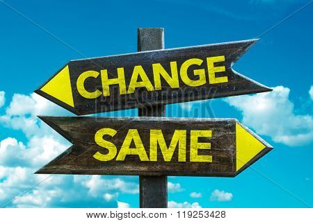 Change - Same signpost with sky background