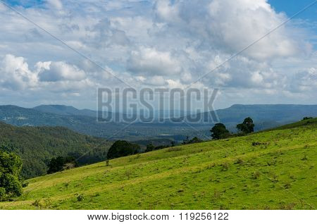 Beautiful green hill with breathtaking views over the horizon on a sunny day. Agriculture pasture green grass hill