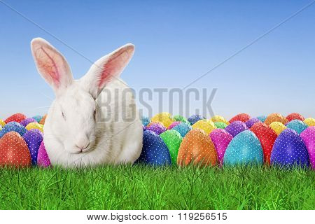 Full Happy Easter with sky background