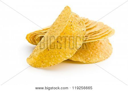 crispy taco shells on white background