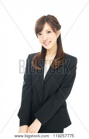 Beautiful asian businesswoman isolated on white background